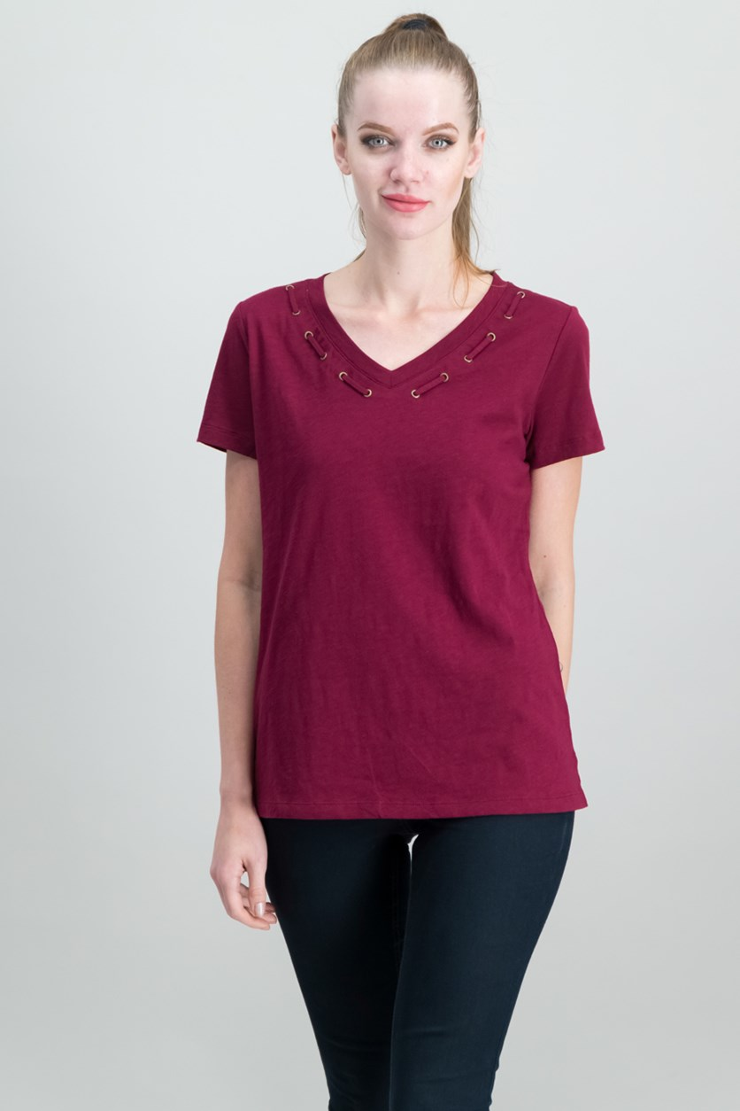Cotton Grommet-Detail Top, Merlot