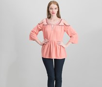 Style & Co Embroidered Cold-Shoulder Top, Autumn Sand
