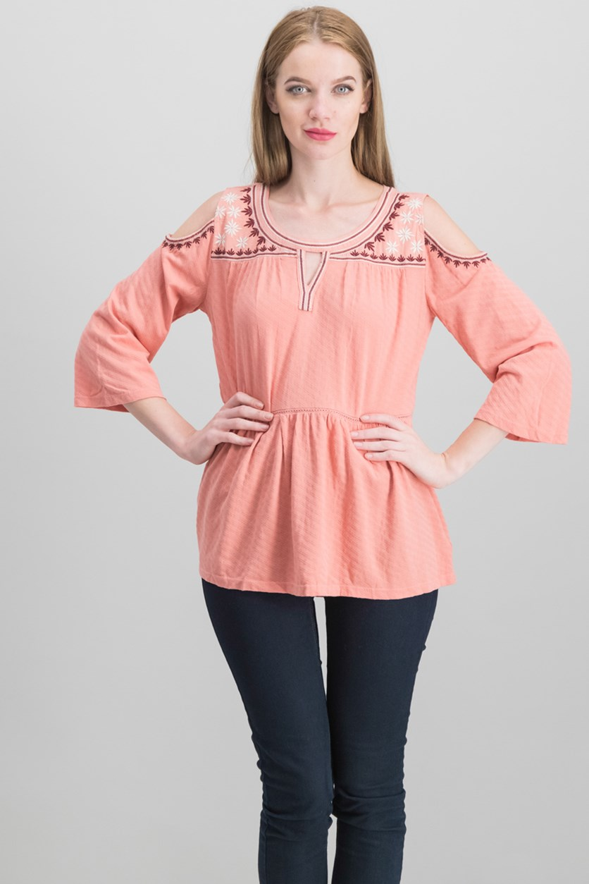 Embroidered Cold-Shoulder Top, Autumn Sand
