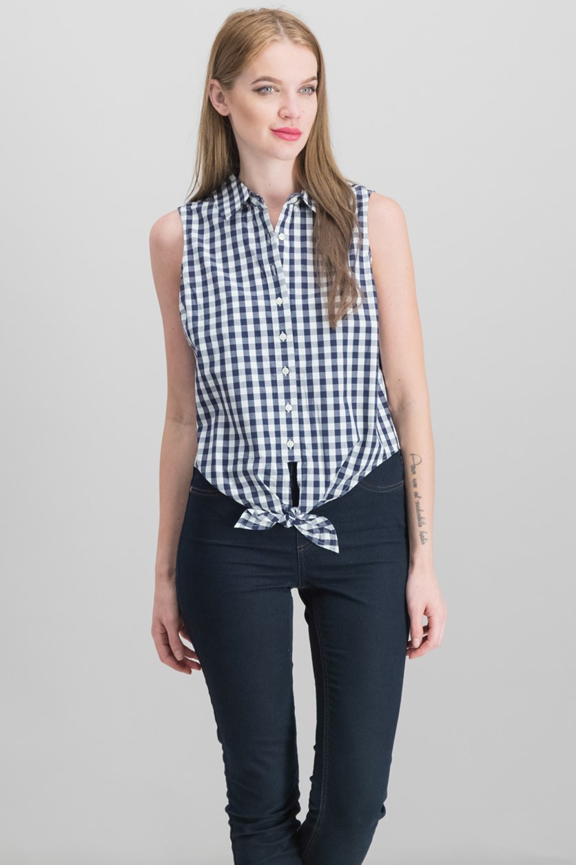 Cotton Checked Front-Tie Top, Blue Notte Combo