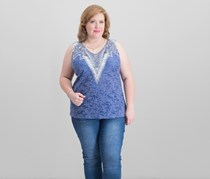 I.n.c. Women's Plus Size Burnout-Print Studded Tank, Blue