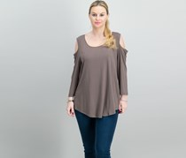Jm Collection Cold-Shoulder Top, Brown clay