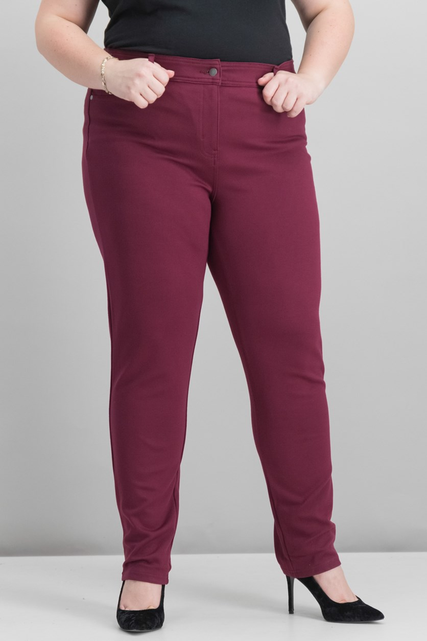 Women's Faux-Pocket Slim-Fit Pants, Burgundy