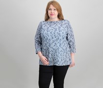 Women Plus-Size Boat-Neck 3/4-Sleeve Top, Intrepid Blue