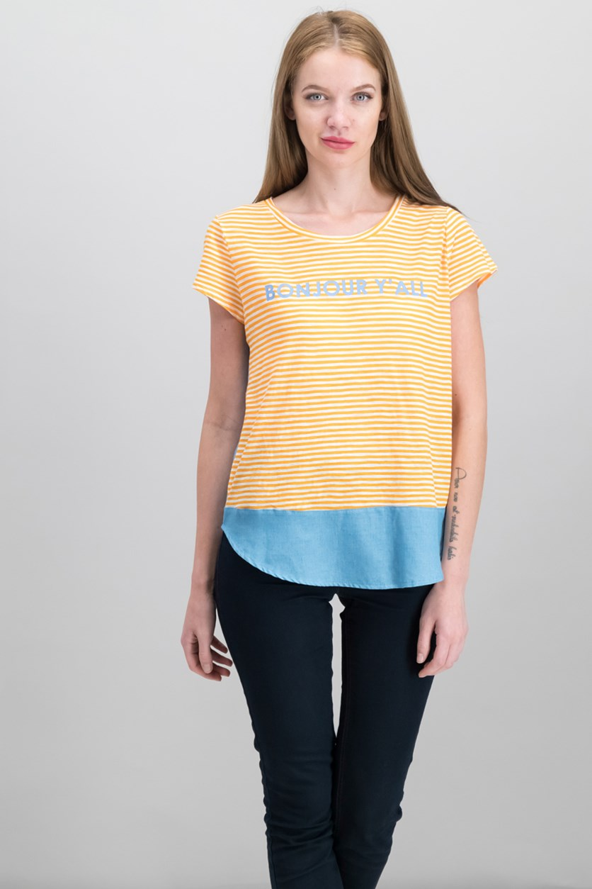 Bonjour Graphic Top, Orange Sun