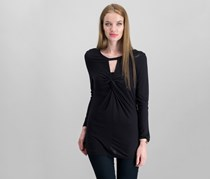 International Concepts Twist-Front Keyhole Top, Deep Black