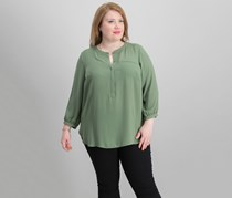 Plus Size Pleated-Back Henley Blouse, Mountain Sage