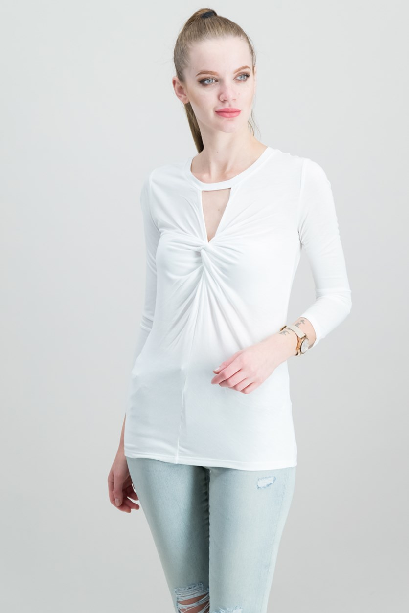 Twist-Front Keyhole Top, Bright White