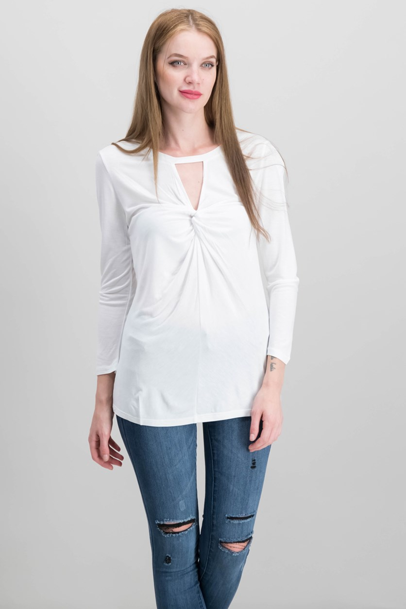 Twist-Front Keyhole Top, White