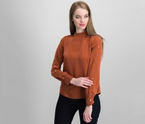 Women Mock-Turtleneck Button-Detail Blouse, Burnt Umber