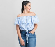 Women Off-The-Shoulder Cropped Top, Blue Stripe