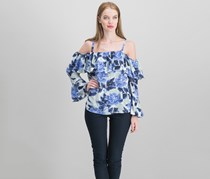 International Concepts Ruffled Cold-Shoulder Top, Black/Blue Combo
