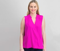 Inc International Concepts High-Low Surplice-Neck Top, Magenta Flame