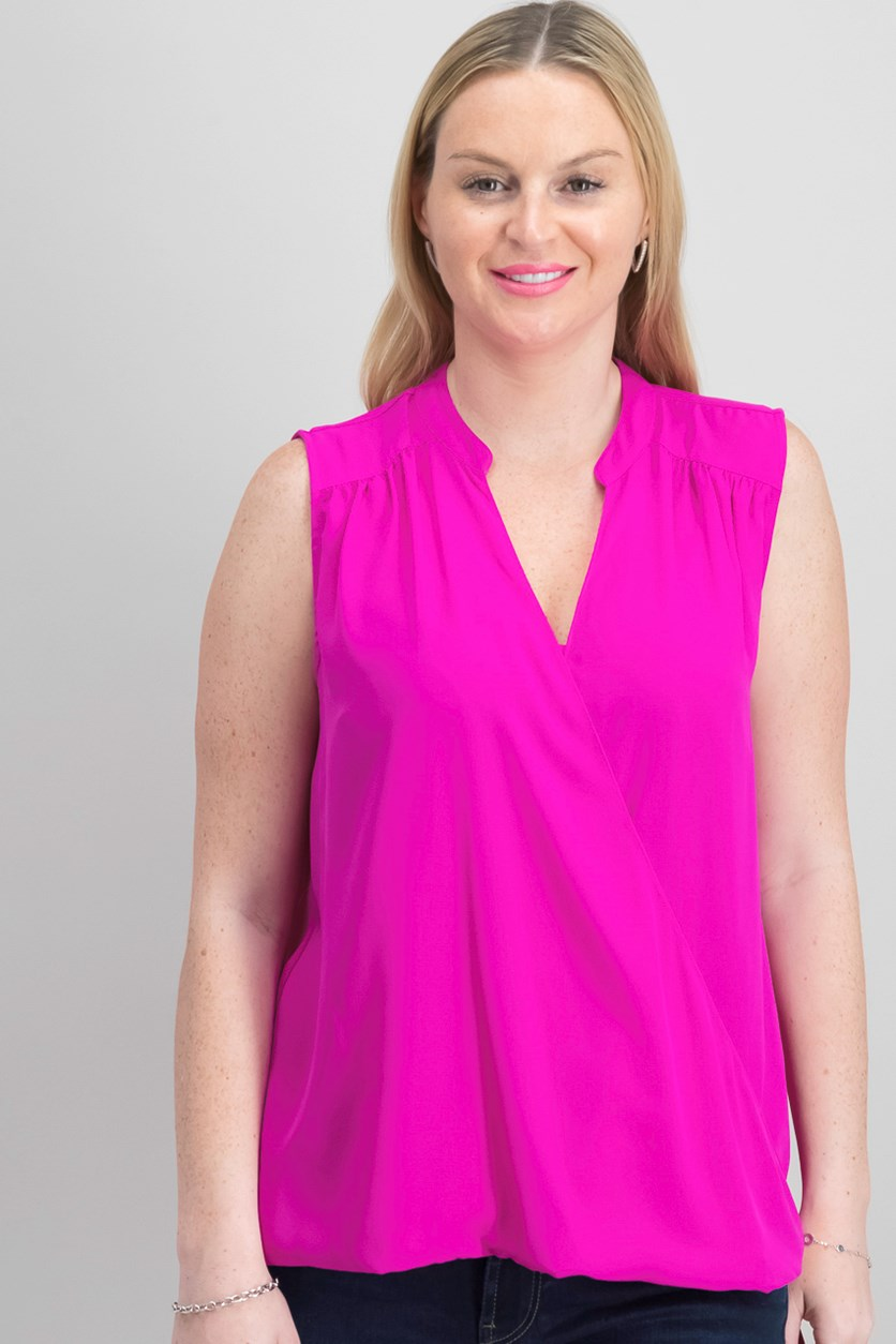 International Concepts High-Low Surplice-Neck Top, Magenta Flame
