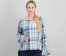 Maison Jules Plaid Bell-Sleeve Top, Sea Cave Combo