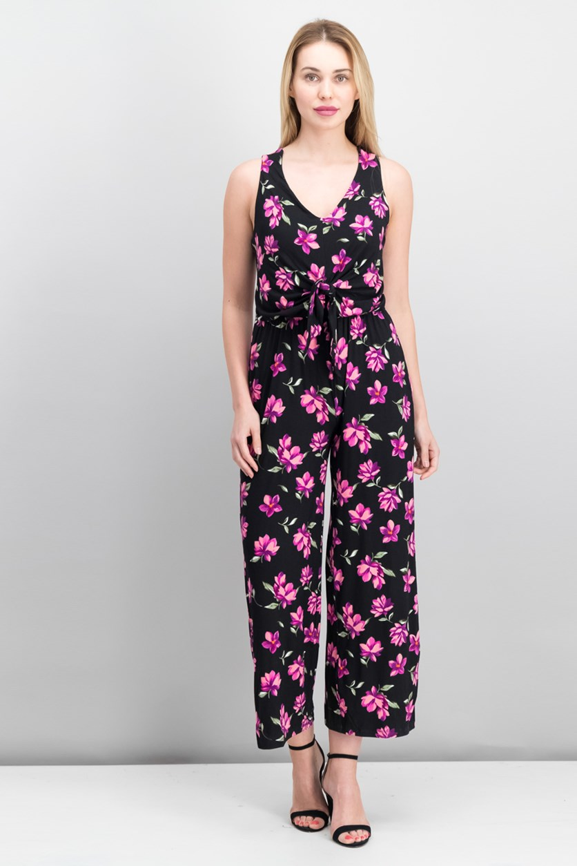 International Concepts Petite Floral-Print Tie-Waist, Black Tossed