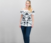 INC International Embroidered Cold-Shoulder Top, White