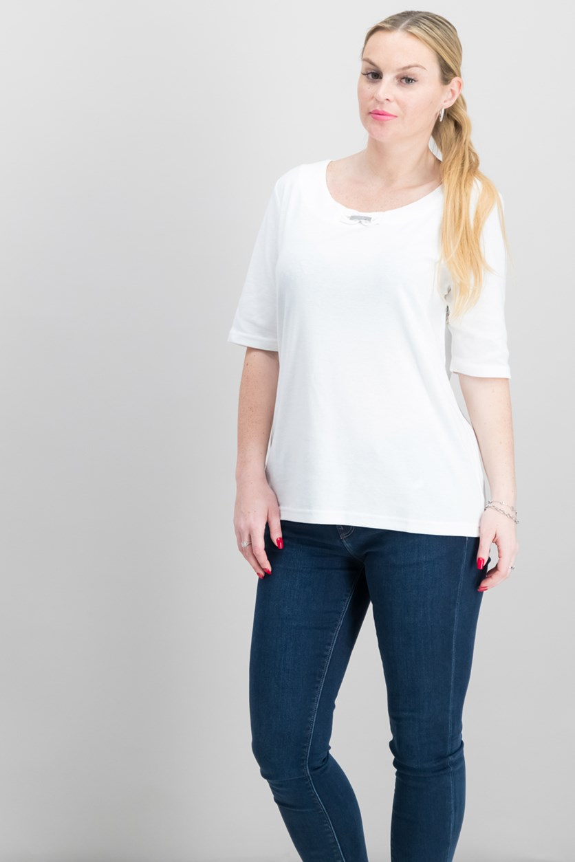 Cotton Embellished T-Shirt, Bright White