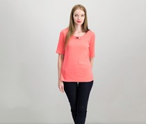 Karen Scott Cotton Embellished T-Shirt, Peony Coral