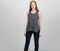 Style & Co Petite Printed Handkerchief-Hem Top, Black Combo