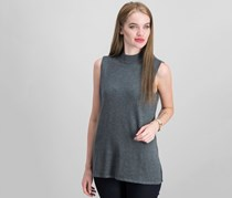 JM Collection Petite Sleeveless Mock Neck Top, Charcoal Heather
