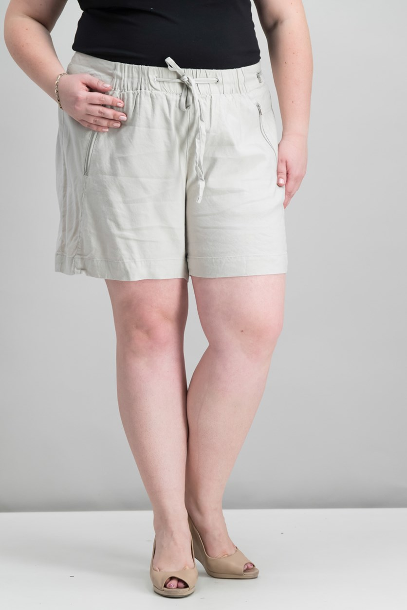 Women's Plus Size Drawstring Shorts, Toad Beige