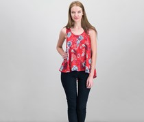 Style & Co Petite Printed Button-Front Top, Red Combo