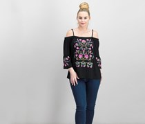 INC Cold-Shoulder Embroidered Top, Deep Black