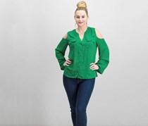 International Concepts Cold-Shoulder Blouse, Dark Emerald
