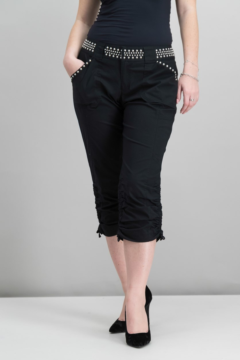 International Concepts Studded Cargo Pants, Black