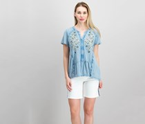 Style & Co Embroidered Cotton Split-Neck Top, Blue Combo