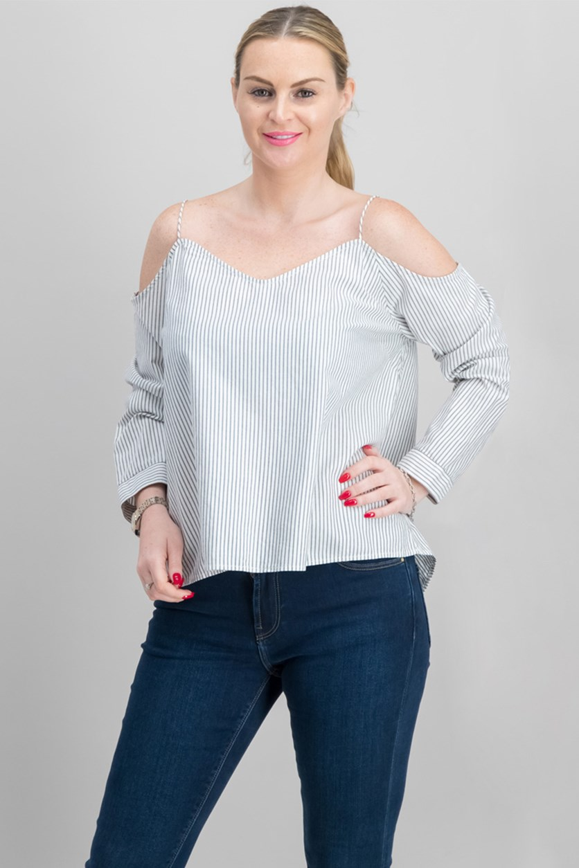 Women Cold-Shoulder Striped Top, Standard White/Grey