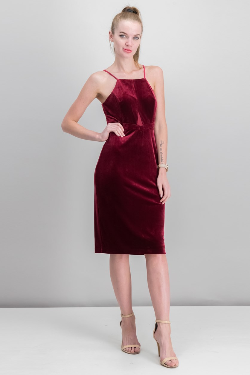 Women's Velvet/Illusion Dress, Ruby
