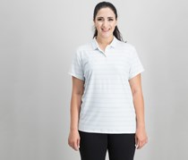 Nike Women Dry Striped Golf Polo, White/Wolf Grey