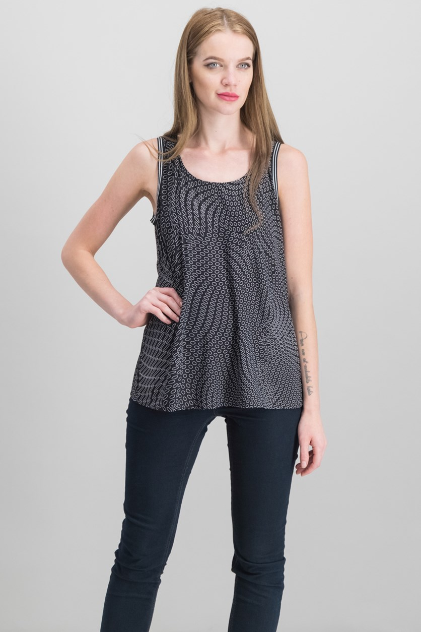 International Concepts Mixed-Print Split-Back Top, Dotted Swirl