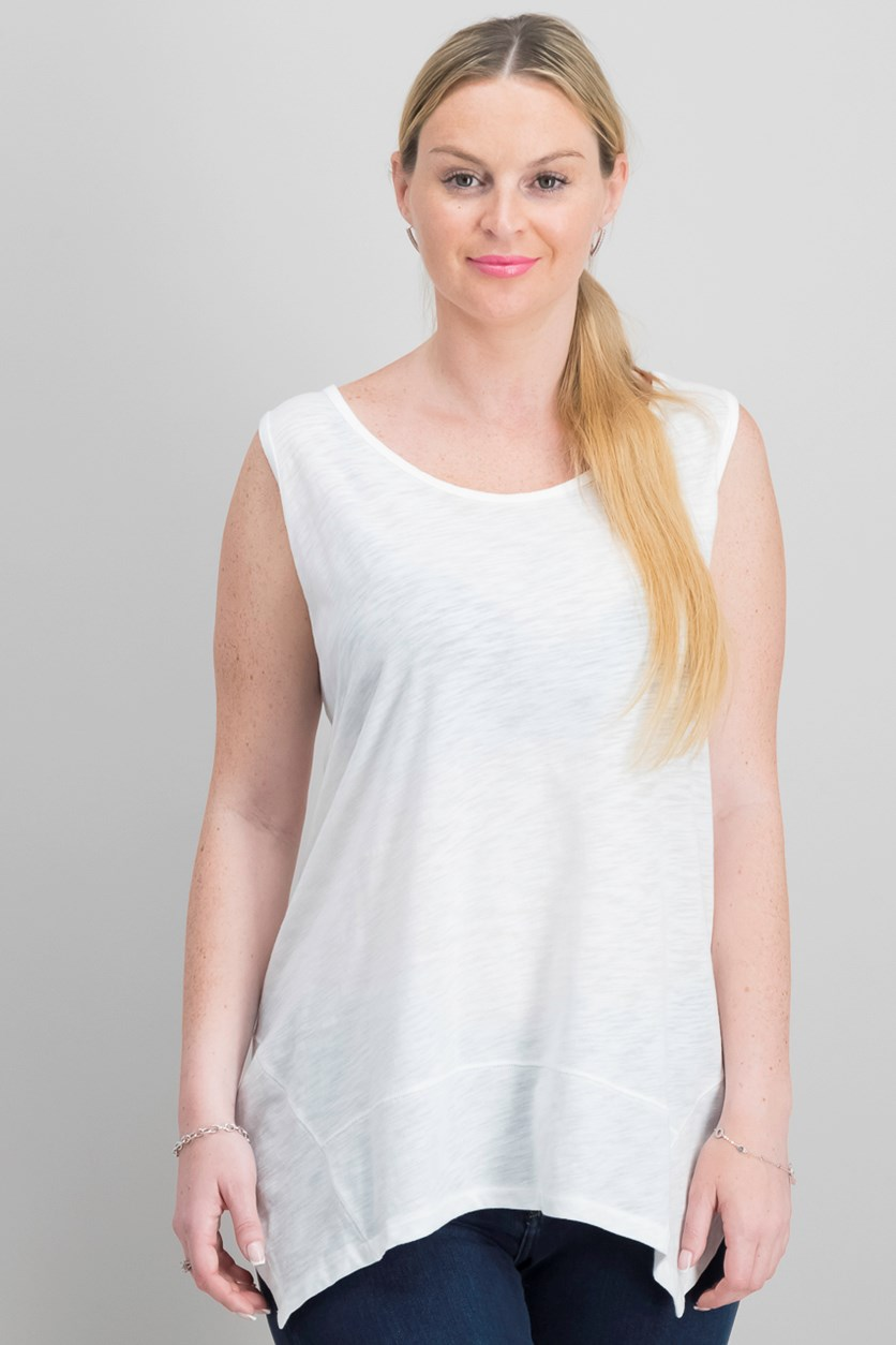 Style Co Handkerchief-Hem Tank Top, Winter White