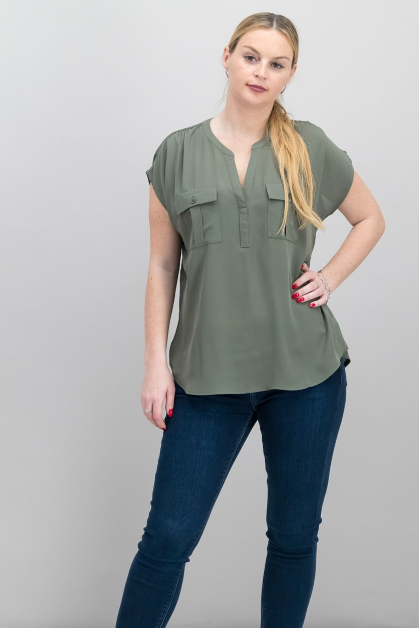 Dolman-Sleeve Mixed-Media Util, Olive Drab