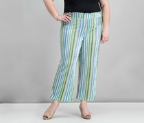 Ny Collection Petite Striped Wide-Leg Pants, Green Combo