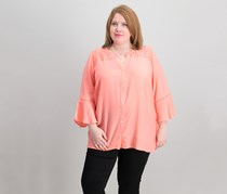 NY Collection Plus Size Lace-Trim Bell-Sleeves, Pink Leah