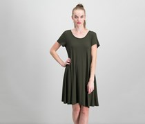 Style & Co. Short-Sleeve A-Line Dress, Evening Olive