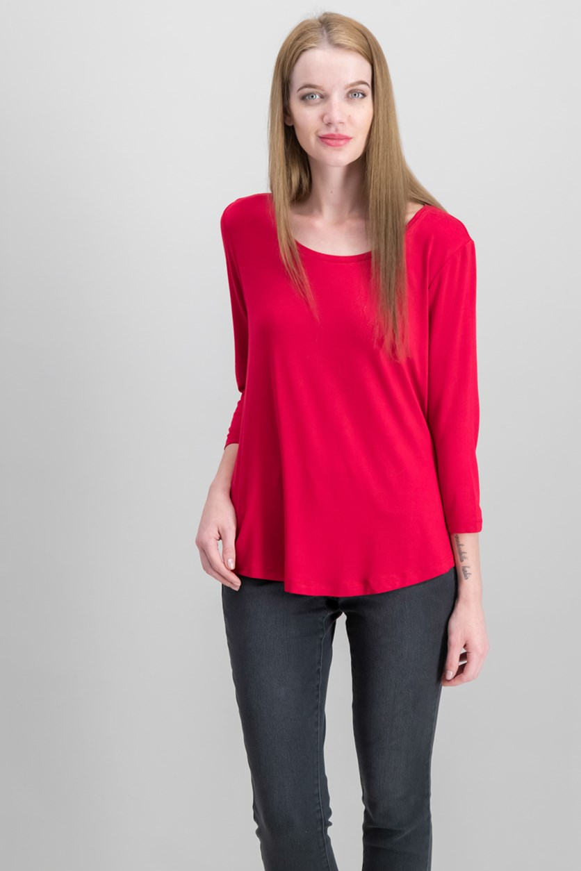 Women Petite Three-Quarter-Sleeve Top, New Red Amore