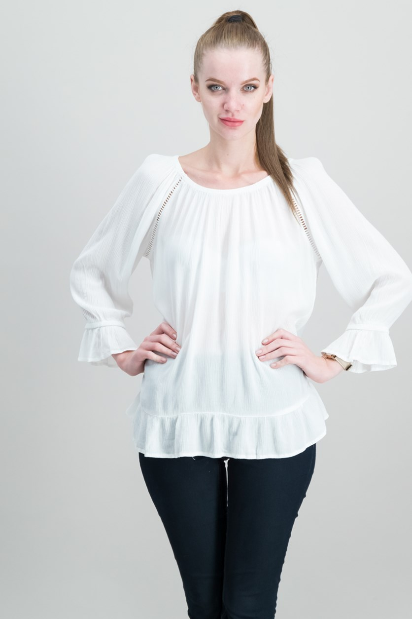 International Concepts Crepe Peasant Top, Bright White