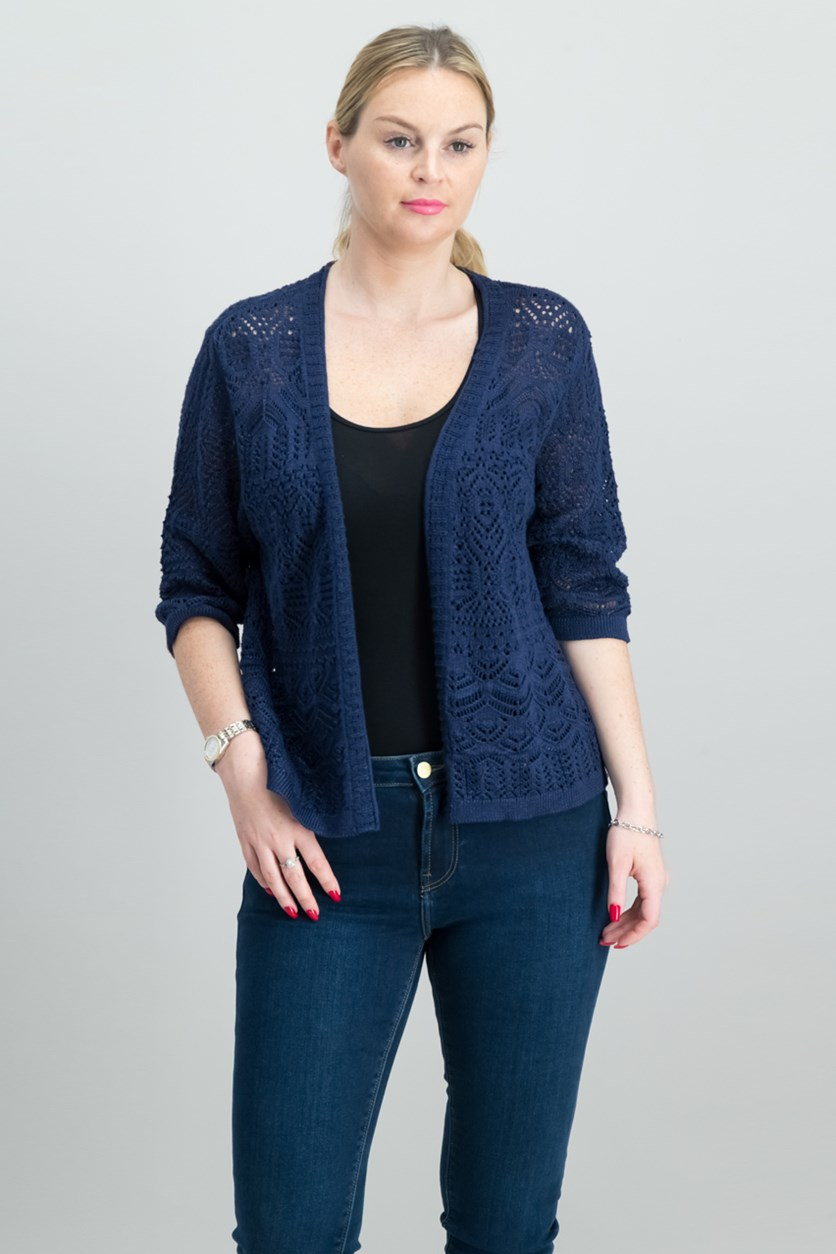Cropped Open-Front Cardigan, Intrepid Blue