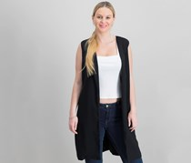 Bar III Women Long Vest, Deep Black