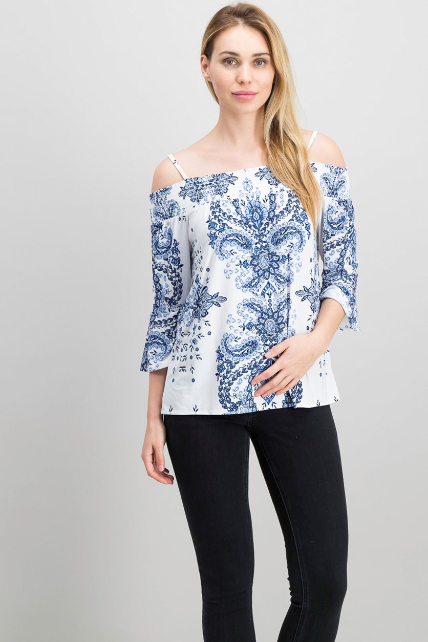 International Concepts Off-The-Shoulder Top, Speckle Paisley