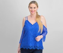 Bar III Strappy Lace Off-The-Shoulder Top, Cobalt Glaze