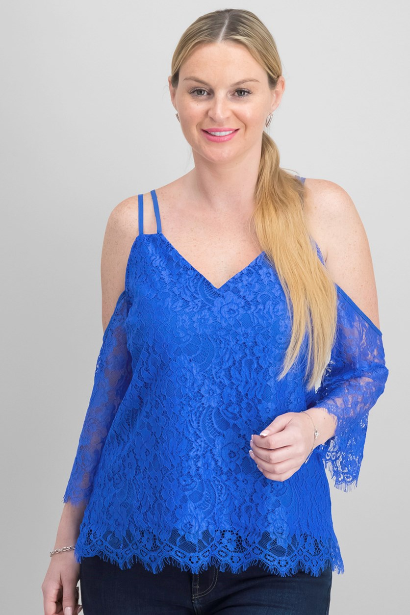 Strappy Lace Off-The-Shoulder Top, Cobalt Glaze