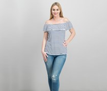 Maison Jules Striped Off-The-Shoulder Flounce Top, Blu Notte Combo