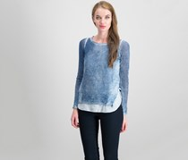Inc International Concepts Cotton Layered-Look Sweater, Heather Inkberry