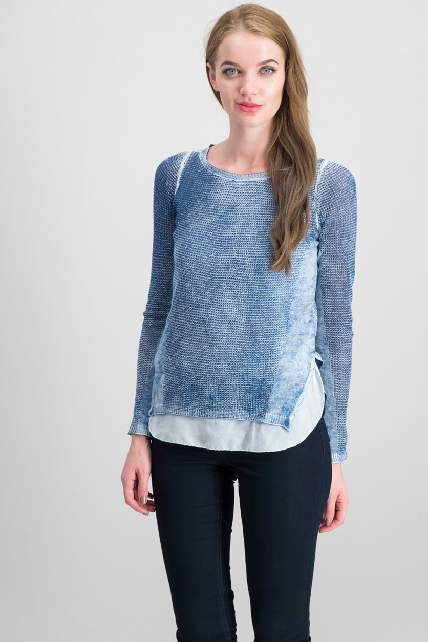 International Concepts Cotton Layered-Look Sweater, Heather Inkberry